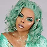 K'ryssma Mint Green Lace Front Wig with Heat Resistnat Short Wavy Bob Synthetic Wigs Glueless for Women