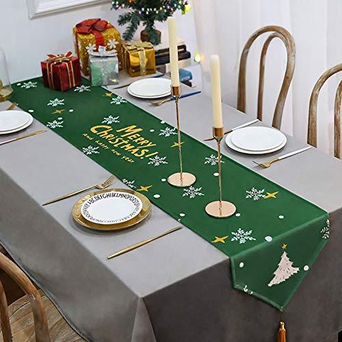 Camino de Mesa Navidad Navideno con Decoracion de Borla, Decoracion de Fiesta Navidena para Mesa de Comedor/Mesa De Centro/Gabinete De TV/Gabinete De Zapatos