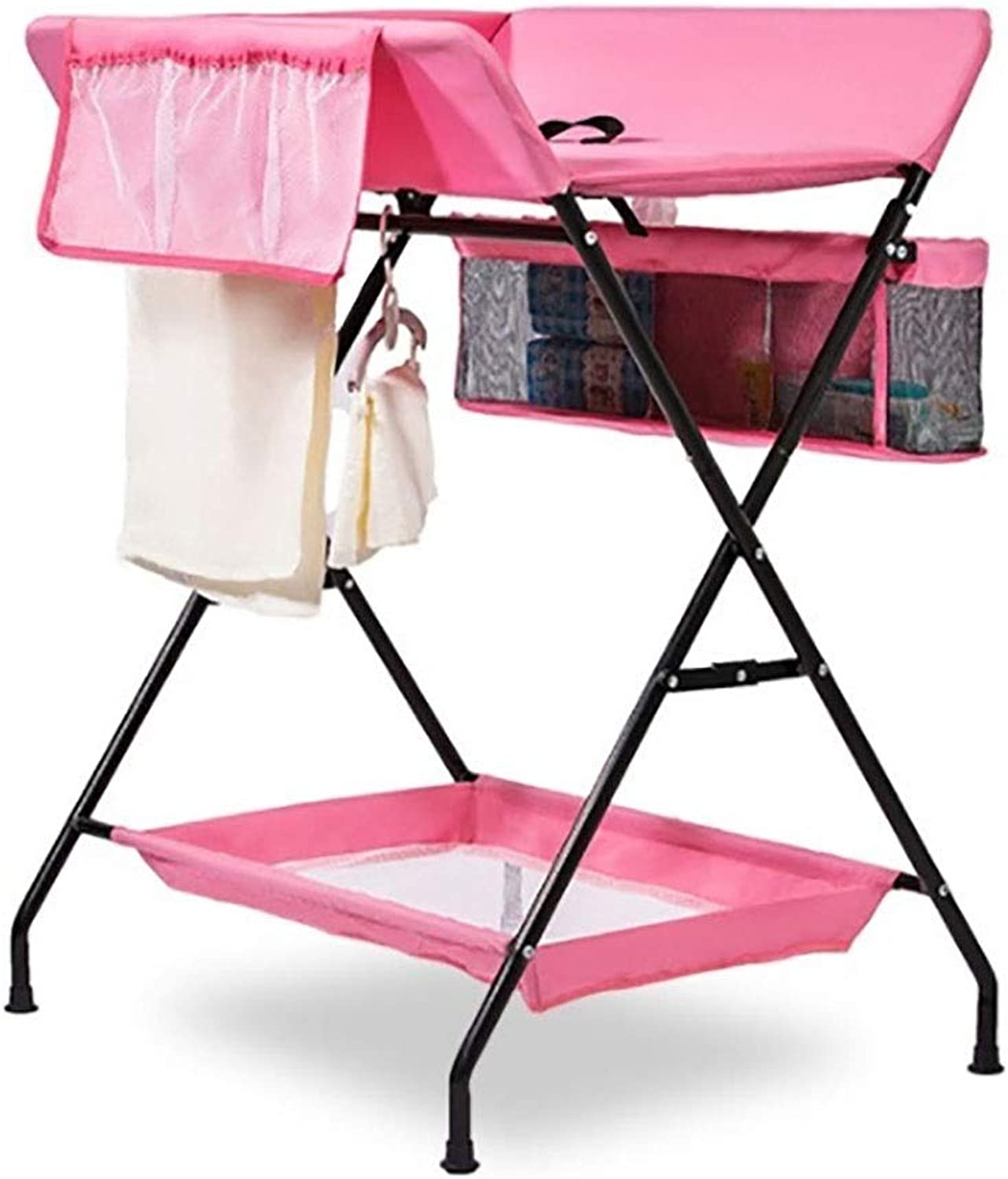 Diaper Changing Tables Pink Diaper Changing Tables, Folding Massaging Storage Organizer Cross Leg for 0-3 Years Old Baby, 25 KG Load(Size  S, L) (Size   S-75×60×100cm)