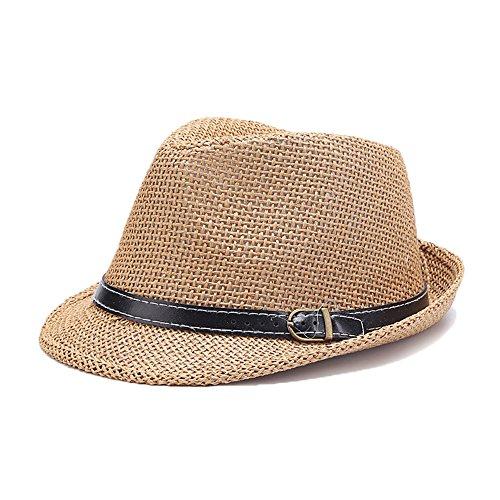 Doublebulls hats Chapeau Trilby Panama De Paille Homme Garçons Soleil Brun Clair
