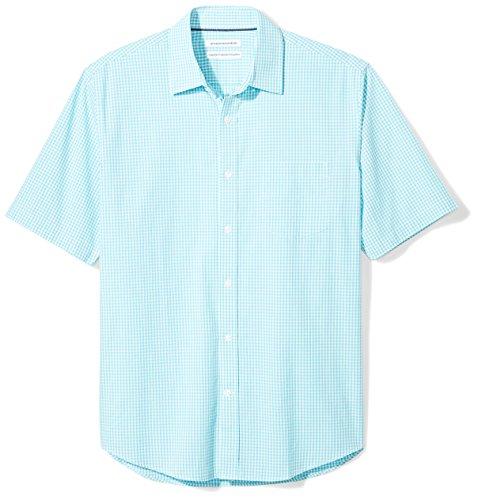 Amazon Essentials - Camicia da uomo a maniche corte, in tessuto popeline, motivo scozzese, casual, vestibilità standard, Aqua Gingham, S