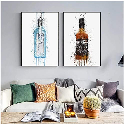 Wwjwhhc Cartel De Impresión De Lienzo De Moda Moderna Botella De Vino Pintura Nórdica E Impresión De Arte De Pared Para Sala De Estar Decoración De Cocina (50X70Cmx2Pcs) Sin Marco