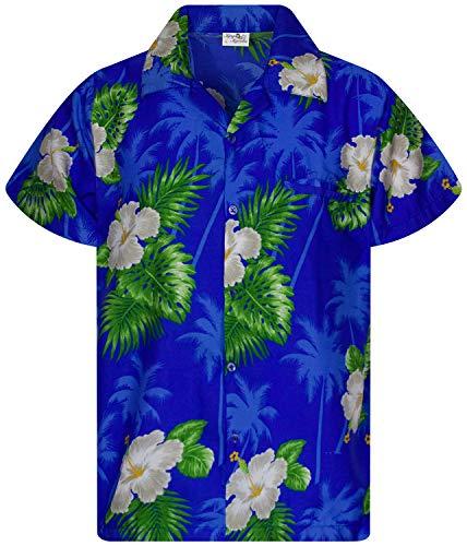 King Kameha Camisa hawaiana de manga corta para hombre, con bolsillo frontal, estampado de flores pequeñas Small Flower azul oscuro. L