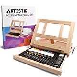 Mixed Media Art Set - Complete Easel Painting Kit with Wood Desk Top Easel Box Includes Acrylic Paints, 3 Canvas Boards, Oil Pastels, Desktop Art Supplies Gift for Beginner Artists, Kids, Adults