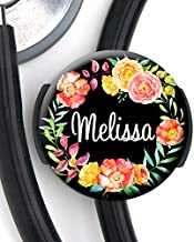 Stethoscope Tag - Black Floral Wreath - Personalized Name - Steth ID Tag/Nurse Badge