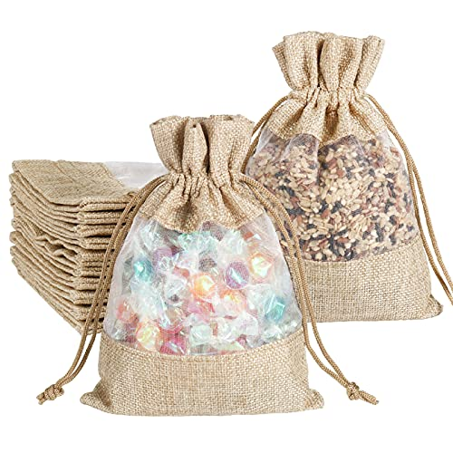 Burlap Drawstring Bags 5x7 Inch with Sheer Window Organza, Candy Jewelry Gift Pouches for Party Favors, DIY Craft, Birthday and Wedding (12 Pack)