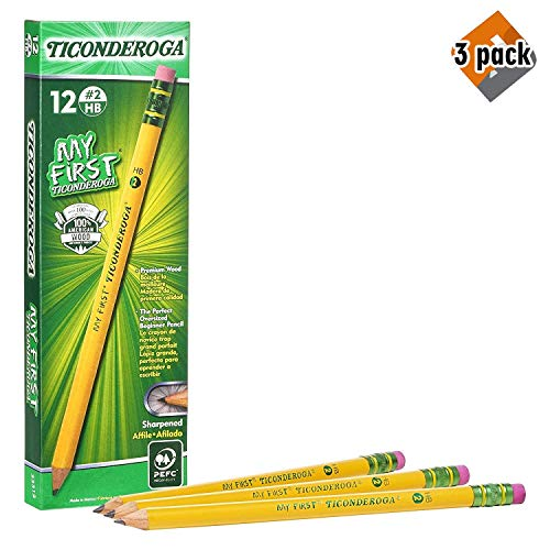 Ticonderoga My First Pencils, Wood-Cased Primary Size #2 HB Soft Beginner Pencil, Pre-Sharpened with Eraser, Yellow, 12-Pack - Pack of 3