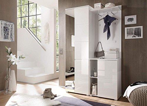 lifestyle4living Garderoben-Set in Weiß, Hochglanz, 120 cm | Kompakt-Garderobe mit Garderobenschrank inkl. Spiegel, Kommode, Garderoben-Paneel, Kleiderstange und Regal