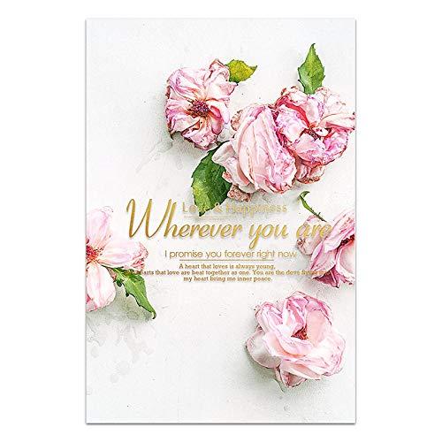 U/N Rose Rose Vase Fleur Toile Impression garder la Vie Simples mots affiche pivoine Photo décoration Salon Moderne mur Art décoration 6