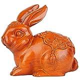 LPQA Escultura Esculturas Y Accesorios Decorativos Madera Maciza Tallada Conejo Decoración del Hogar Arte Hecho A Mano Madera Conejo Decoración Regalo De Cumpleaños