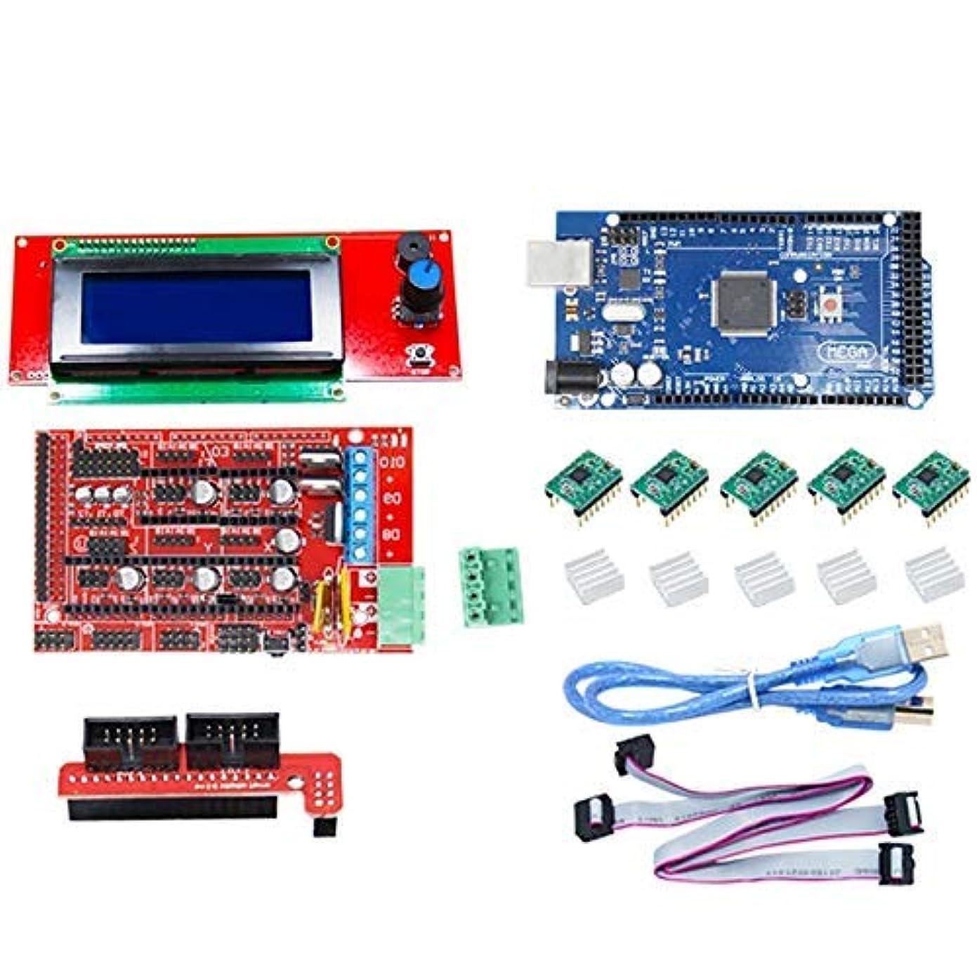 船上ペルー書道AiCheaX-Arduino Mega 2560 R3 RAMPS 1.4 LCD 2004リミットスイッチA4988ステッパードライバー用CNC 3Dプリンターキット