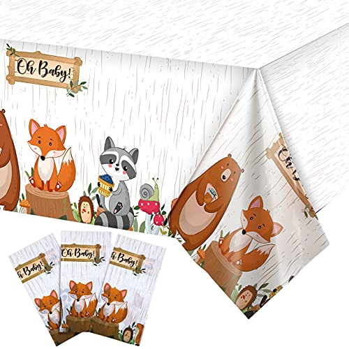 3 Pieces Animal Safari Tablecloth Plastic Woodland Table Covers Jungle Theme Rectangular Wild Zoo Party Table Cloth for Kids Birthday Supplies Dining Room Kitchen Decor  54 x 108 Inch