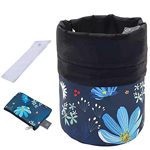 UYRIE Tragbare Reise Kulturbeutel Kosmetische veranstalter Tasche, Große Kordelzug Hängen Waschbeutel für Frauen Mädchen, Tonnenförmige Aufbewahrungstasche (Blaue Blume)