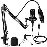 Microphone à Condensateur USB pour PC Studio avec Support et Bras, Ensemble de Microphones Professionnels pour Podcasts 192kHZ/24bit pour L'enregistrement des Podcasts sur Youtube