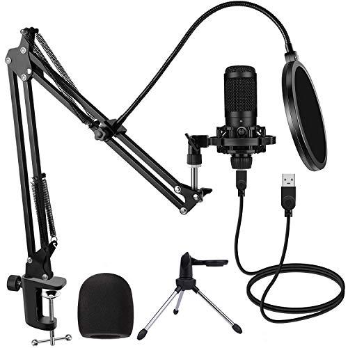 Micrófono de Condensador USB para Estudio de PC con Soporte y Trípode, Juegos de Micrófonos de Podcast Profesionales 192kHZ / 24bit para podcasts Grabación de Transmisión Youtube