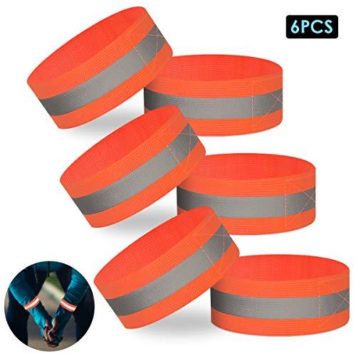 SOONHUA Pulseras Reflectantes Brazalete Brazaletes Tiras Reflectoras Bandas de Seguridad Snap Tobilleras Reflectantes para Niños Adultos Niños Y Niñas Deportes Al Aire Libre