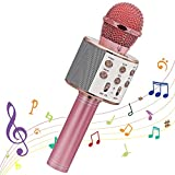 Microphone Sans Fil Karaoké, Ankuka Microphone Bluetooth Lecteur Portable pour KTV/Domestique/Soirée, Cadeaux Enfants