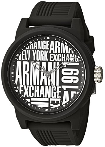 Armani Exchange Men's Analog-Quartz Silicone Strap, Black,...
