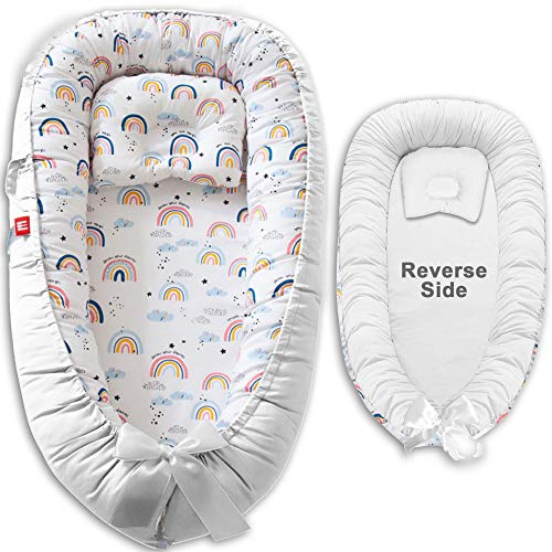 Baby Lounger Nest - 100% Cotton Portable Newborn Sleeper - Soft, Breathable, Comfortable, Machine Washable Cushion - Cosleeper for Baby in Bed - Infant Lounger with Double-Sided Pillow (Rainbow White)