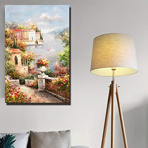 ganlanshu Rahmenlose MalereiWohnzimmer Wandblumen und Seestück mediterranen Stil Leinwand Malerei Leinwand Kunst rahmenlose Dekoration20X30cm