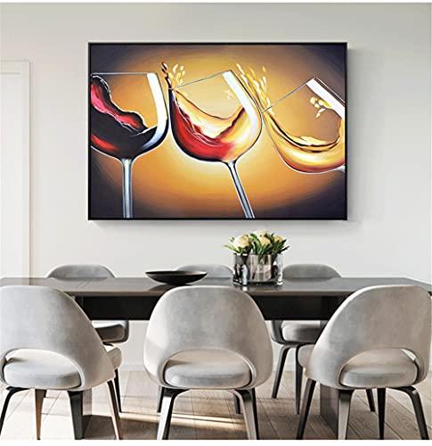 5D Diamante Pintura por Número Kits para Adultos/Ninos Copa de vino tinto DIY Pintura de Diamantes Completo Kit Grande Diamond Painting Punto de Cruz Decoración de Pared del Hogar-Round drill,50x70cm