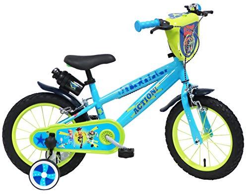 DISNEY/TOY STORY Vélo 14' Toy Story 4 équipé de 2 Freins, Plaque Avant décorative, bidon & Porte bidon arrière, gardes Boue et stabilisteurs, Bleu Clair