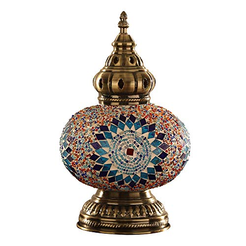 MX Lámpara de Mesa de Mosaico de Vidrio de Estilo Turco/marroquí/Tiffany/Bohemio Lámpara de Escritorio de Pantalla de Globo Multicolor Hecha a Mano de Estilo árabe