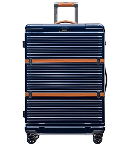 PUCCINI® Premium Hartschale Koffer Oxford 2018 aus Polycarbonat · TSA Zahlenschloss, Leder Namenschild, 4-Rollen Reisekoffer S/L/XL/Set (Blau (7A), Groß)