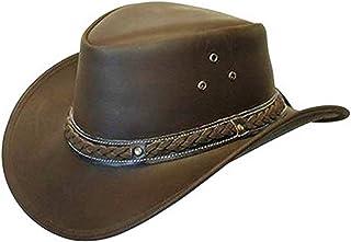 a555306e Brandslock Mens Leather Cowboy Hat Down Under Outback Wide Brim Black/Brown