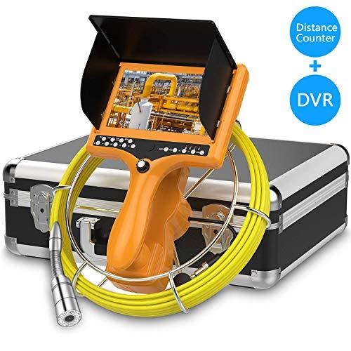 HBUDS Abflusskamera, Kanal Rohrinspektionskamera, Industrielles Endoskop-Schlangen Videosystem mit DVR-Recorder Meter Zähler Wasserdichter IP68-9-Zoll-LCD-Monitor 1000TVL CCD-Rohrkamera