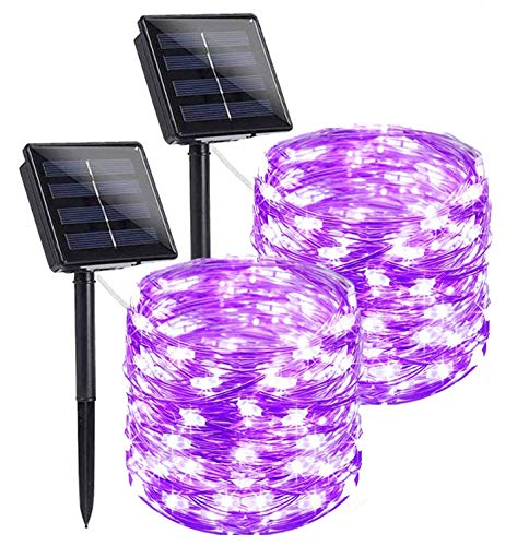 YUESUO Solar String Lights(2 Pack),Each 72ft 200 LED Oversize Lamp Beads Waterproof Solar Fairy Lights, 8 Modes Outdoor String Lights Decorations for Gardens,Yard,Party, Wedding,Christmas (Purple)