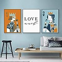 ヴィンテージキングクイーンキャンバス絵画ポスタープリントラブテキスト壁画リビングルームウェディングギフトモダンな家の装飾| 40x60cmx3Pcs /フレームなし