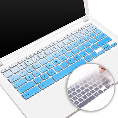 2 Pack Silicone Keyboard Cover for Acer Chromebook Spin 11 311 CP311, Acer 11.6 Inch Chromebook CB3-132 CB3-131 Series, Acer Chromebook Spin 13 713 Skin Protector(Ombre Blue+Clear)