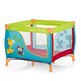 Hauck 606117 Sleep N Play SQ, leichtes quadratisches Baby-Laufgitter, Laufstall, Reisebett inklusive Matratze und Tasche, faltbar und tragbar, 90 x 90 cm, jungle fun bunt