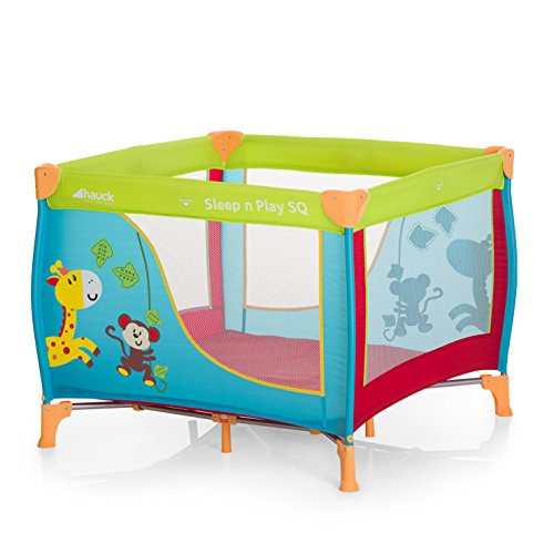 Hauck / Sleep N Play SQ / Parc Bébé Carré Léger 3 Pièces / Lit de Voyage avec Matelas et Sac de Transport / Lit parapluie de 90 x 90 cm / pliable / Jungle Fun (Multicolore)