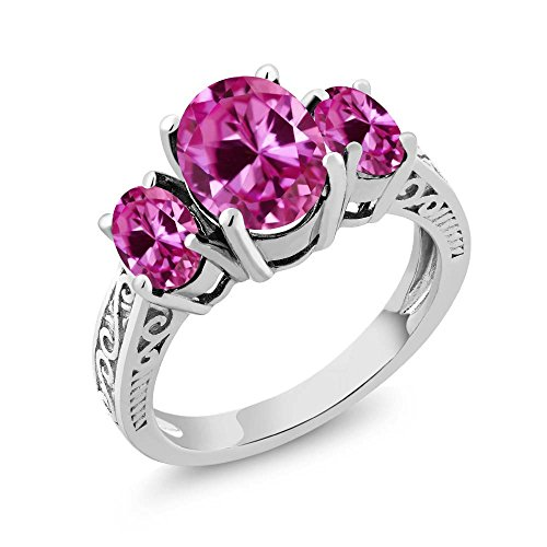 Pink VS Created Sapphire 3-Stone Women's Ring by Gem Stone King