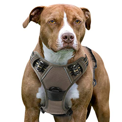 Eagloo Dog Harness No Pull, Walking Pet Harness with 2 Metal Rings and Handle Adjustable Reflective Breathable Oxford Soft Vest Easy Control Front Clip Harness Outdoor for X-Large Dogs Brown