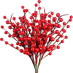 20 Pieces Christmas Artificial Holly Red Berries Picks Twig Stem Artificial Flowers Winter Fake Berries Bunch for Christmas Tree Decorations and DIY Craft