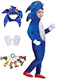 Halloween Deluxe Sonic Costume Cosplay Cartoon Sonic The Hedgehog Suit Onesie Outfit For Boys 4T 5T