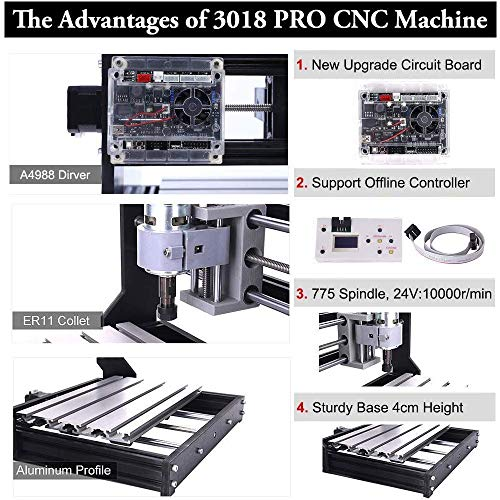 TopDirect CNC Router Engraving Machine with 5mm ER11 and Extension Rod, 160 * 100 * 45mm, PCB PVC Wood Metal Milling Machine + 10PCS CNC Router Bits + 4 Sets CNC Plates