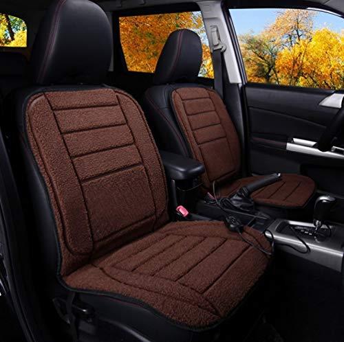 JXHD 2PCS Auto Beheizte Sitzkissen/Heizkissen, 12V Winter Imitation Wolle Weiche Zwei Sitzmatten, 4 Farben Erhältlich,Brown