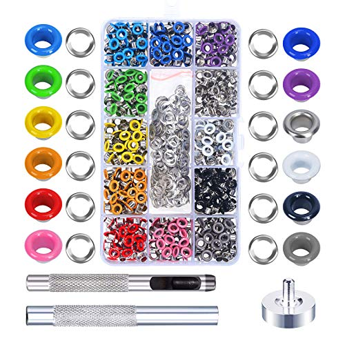 MEZOOM 480 Stücke Ösen Set 5mm Metallösen 12 Farben mit Installation Werkzeuge für Taschen Schuhe Kleidung DIY Handwerk (3/16 Zoll)