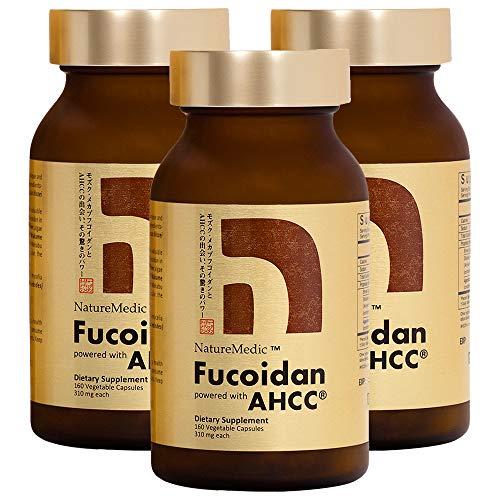 NatureMedic Fucoidan AHCC Brown Seaweed Immunity Supplement with Organic Mekabu Mozuku Agaricus 3 Bottles + FREE 2 Bags of 12 Capsules - 504 Vegetable Capsules Made in Japan