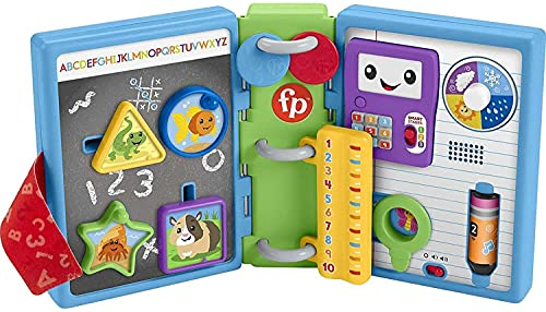 Fisher-Price Laugh & Learn 123 Schoolbook, electronic activity toy with lights, music, and Smart Stages learning content for infants and toddlers