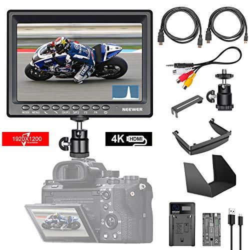 Neewer F200 7Zoll 1080P Full HD 1920 x 1200 IPS-Bildschirmkamera Feldmonitor Unterstützung 4K HDMI-Eingangshistogramm mit 2600mAh Li-Ionen-Akku/USB-Ladegerät für Sony A7S II A6500