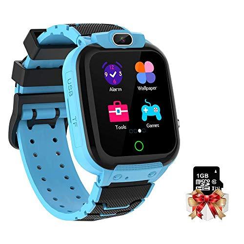 Kinder Armbanduhr IP65 Wasserdichter 1,44-Zoll-Bildschirm Kinderuhr mit Musik, Kamera, Wecker, Kalender, Taschenrechner für Jungen Mädchen Geschenke Alter 3-12 mit 1GB Micro SD-Karte, Blau