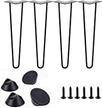 DX Les Les vorkpoten, 4 x tafelpoten, meubelpoten, zwart gesatineerd, met zelfsnijdende schroeven, kan worden gebruikt voo...