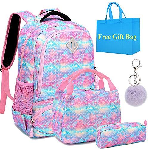 Mädchen Schultaschen Set Glitzer Rucksack Bunte Schulrucksack Kinder Schulranzen 3 Teile Set für Schule und Täglicher Gebrauch