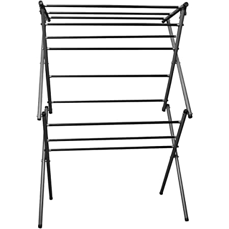 Globe Foldable Alloy Steel Cloth Drying Stand with Heavy 12 Rode (Antique Grey, Black)