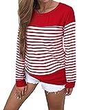 CONFIO Camisetas Mujer Manga Larga Cuello Redondo Blusas para Mujer Suelta Raya Tops Mujer Fiesta
